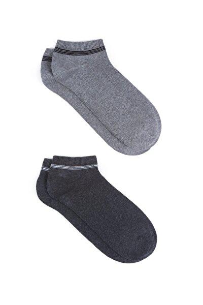 Erkek Gri Patik Çorap 2 li 090984-25765