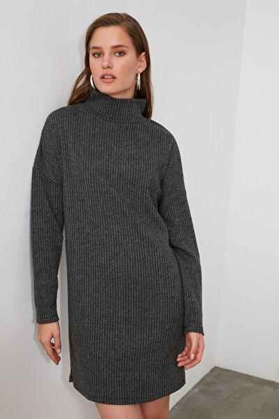 Antrasit Boğazlı Örme Elbise TWOAW21EL1949