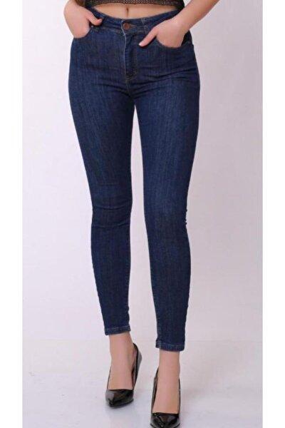 Kadın Lacivert Yüksek Bel Lacivert Dar Paça Kot Pantolon