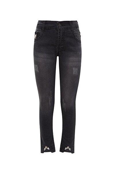 Kız Çocuk Siyah Taş Detaylı Denim Pantolon