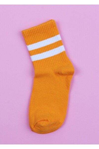 Unisex Turuncu Çizgili Çorap