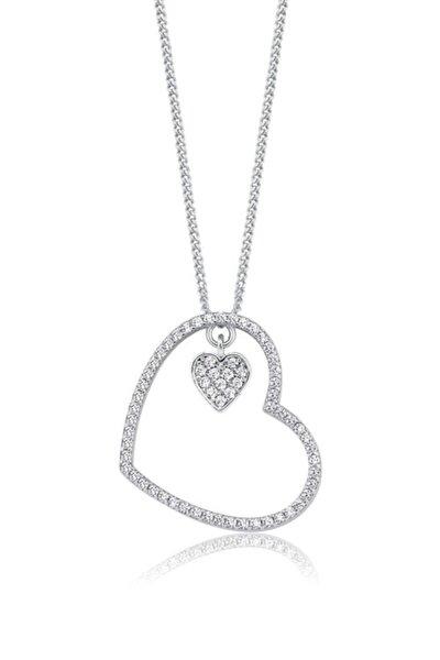 Sallantılı Kalp, Swarovski Zirkon Beyaz Taşlı, Gümüş Kolye
