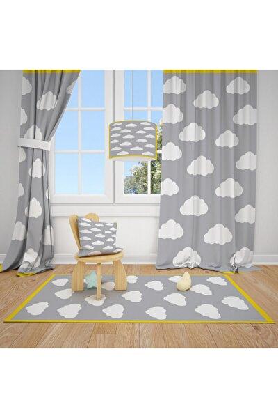Gri Zemin Bulut Sarı Şerit Çocuk Bebek Odası Halısı