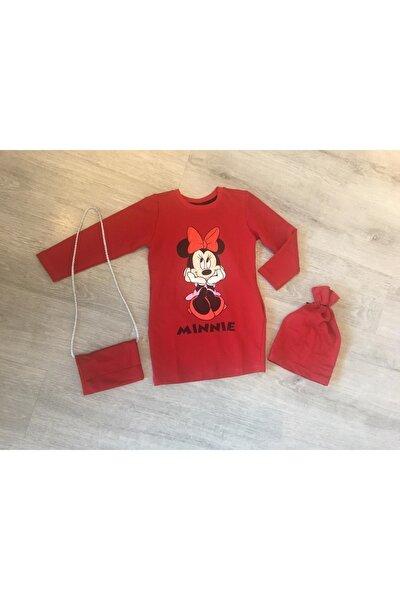 Kız Çocuk Kırmızı Çantalı & Bereli Penye Elbise