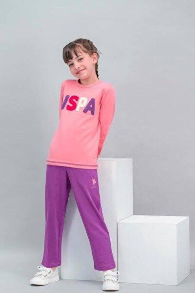 Kız Çocuk Pembe Us Polo Assn 565 Lisanslı Şeker Pijama takımı
