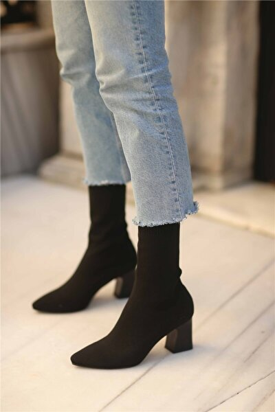 Kadın Siyah Lesilla Streç Topuklu Bot
