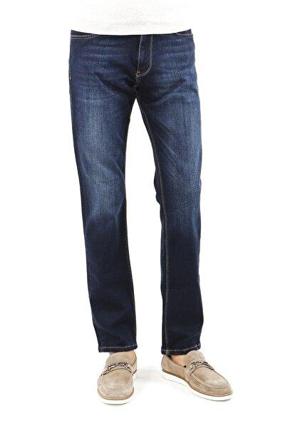 Erkek Lacivert  Regular Fit Serili Kot 5 Cep Serili Pantolon