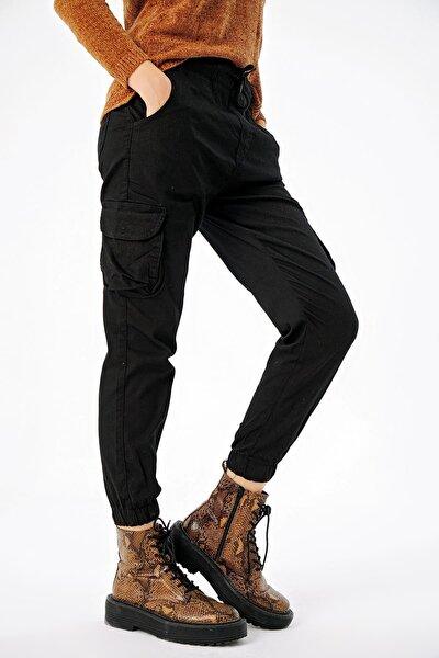Kadın Beli Paçası Lastikli Kargo Cepli Pantolon