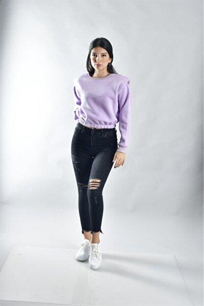 Kadın Mor Vatkalı Içi Şardonlu Etek Lastik Detaylı Sweatshirt