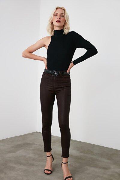 Kahverengi Kaplamalı Yüksek Bel Skinny  Jeans TWOAW21JE0352
