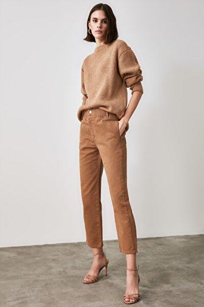 Camel Beli Lastikli Yüksek Bel Straight Jeans TWOAW21JE0377