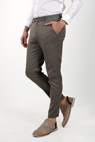 Erkek Kahverengi Slim Fit Spor Yan Cep Pantolon