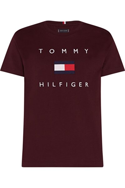 Bordo Tommy Flag Hılfıger Tee T-Shirt