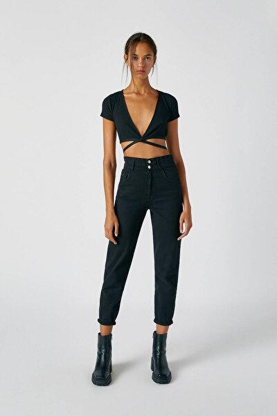 Kadın Siyah Elastik Yüksek Belli Gaucho Jean 05670317