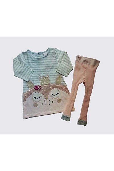 Pembe Çizgili Kız Bebek Elbise Ve Çorap Tayt Takım