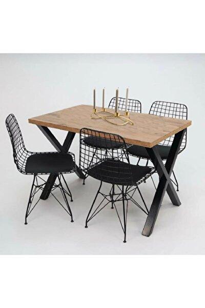 Masa Sandalye Takımı X Ayak Woody Çam 120x80 Cm Yemek Masa Takımı