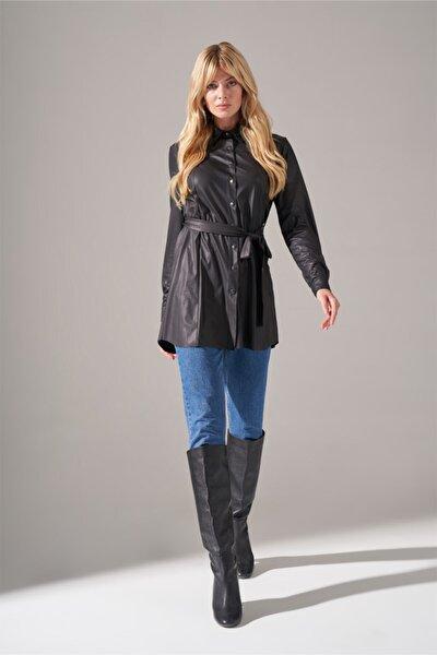 Kadın Siyah Basic Suni Deri Tunik Gömlek