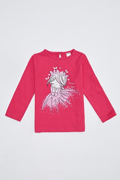 Kız Bebek Baksılı Uzun Kollu Pamuklu Tişört