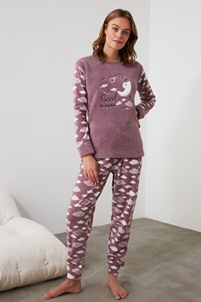 Mor Nakışlı Wellsoft Pijama Takımı THMAW21PT0651