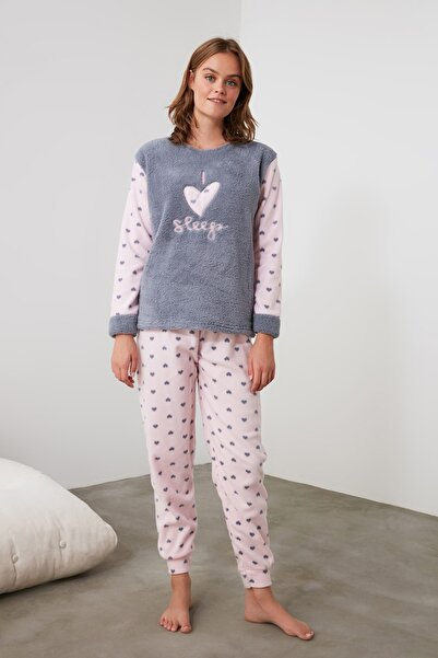 Gri Nakışlı Wellsoft Pijama Takımı THMAW21PT0652