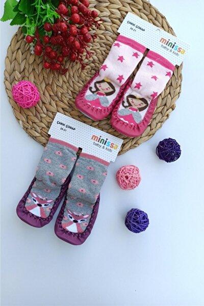 Kız Bebek Mor Fuşya Çarık Çorap  2 Adet