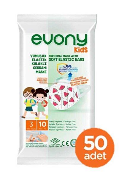 Kids Yumuşak Elastik Kulaklı Renkli Çocuk Maskesi 50 Adet (10 X 5 Paket)