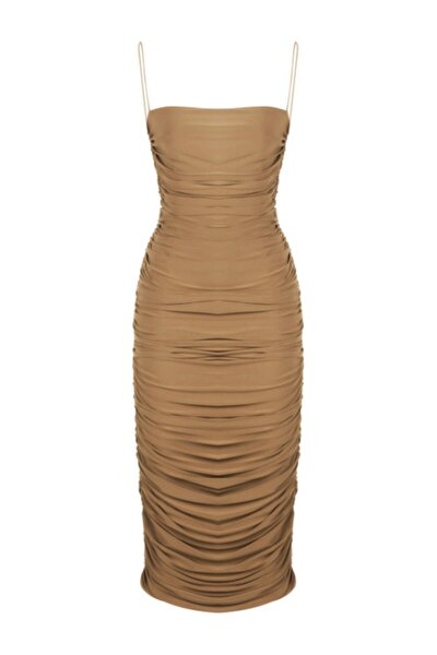 Kadın Bej İnce Askılı Drapeli Diz Altı Elbise