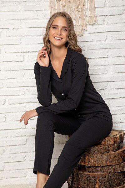 Kadın Siyah Pamuklu Düğmeli Pijama Takim