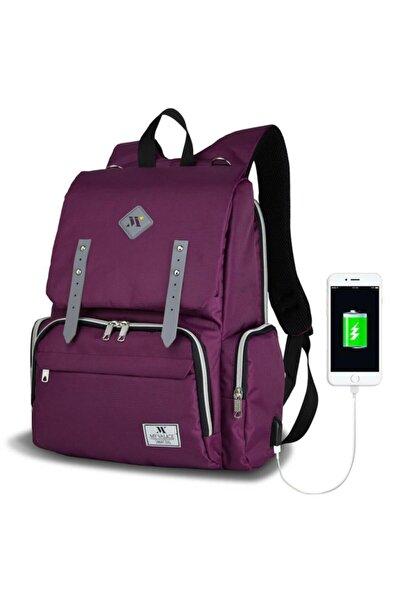 Unisex Mor Smart Bag Mother Star USB'li Anne Bebek Bakım Çantası