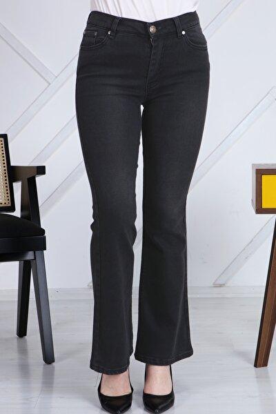 Kadın Antrasit Ispanyol Paça Likralı Yüksek Bel Kot Pantolon Jeans G00ipsi