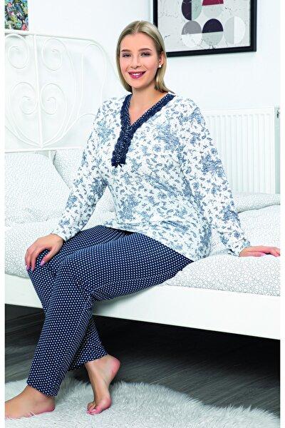Kadın Lacivert Baskılı V Yaka Düğmeli Dantel Detaylı Pijama Takımı 1168