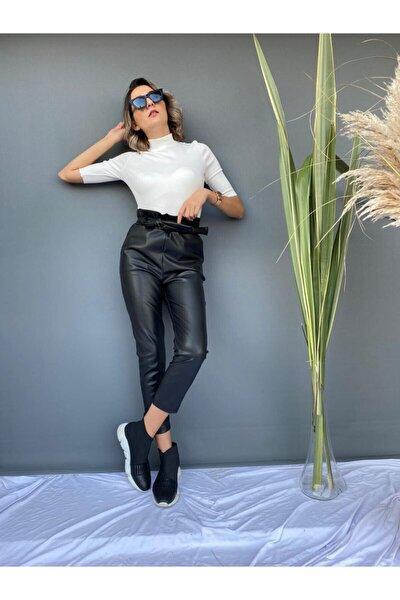 Kadın Siyah Deri Beli Bağcıklı Pantolon