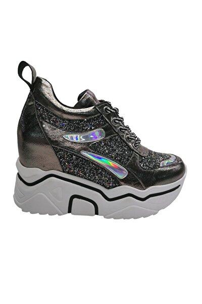 Bayan Gizli Dolgu Yüksek Platin Sneaker