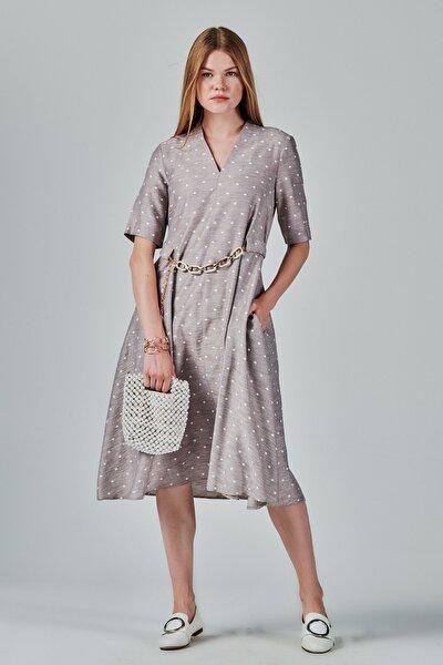 Puantiyeli Belden Kemerli A Form Elbise Je89821