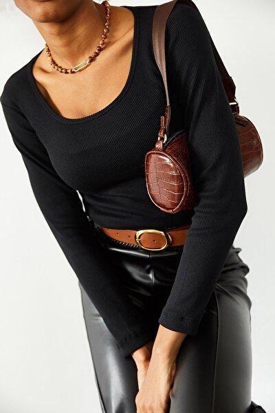 Kadın Siyah Kare Yaka Kaşkorse Bluz 1KZK2-10769-02
