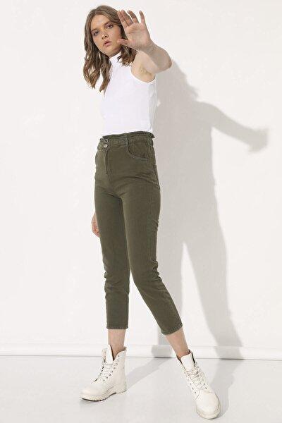 Kadın Haki Beli Lastikli Pantolon