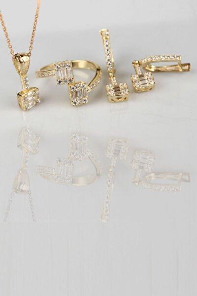 925 Ayar Gümüş Baget Taşlı Gold Takı Seti