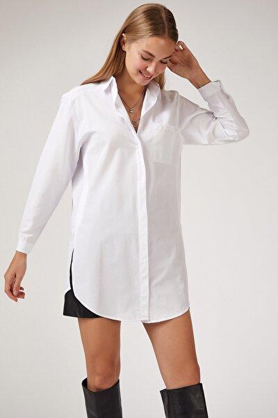 Kadın Beyaz Uzun Boyfriend Poplin Gömlek BP00045