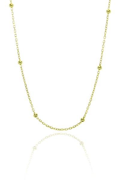 Kadın Gümüş 50 Cm Altın Yaldızlı Top Top Zincir Dgn20487
