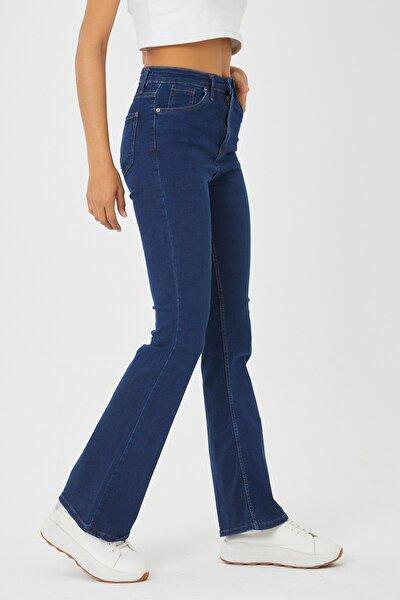 Kadın Mavi İspanyol Paça Kot Pantolon