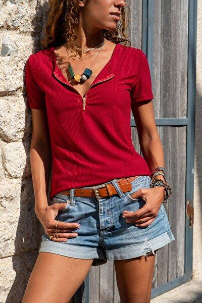 Kadın Bordo Fermuarlı Basic Bluz Gk-Bstk4023