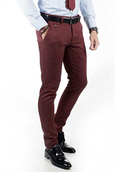 Erkek Bordo Örgü Desen Keten Pantolon