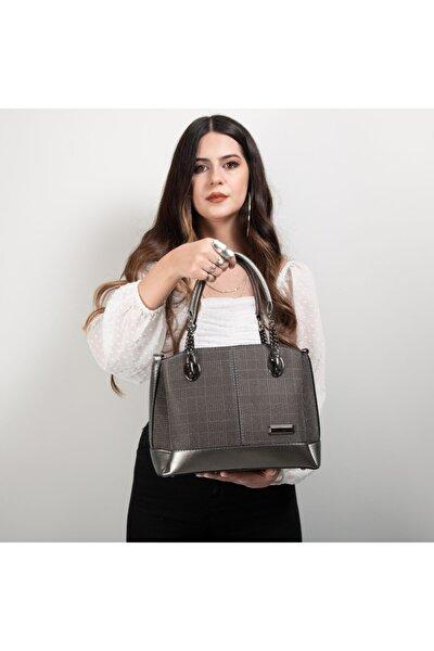 Ekose Desn Kadın El Çanta Bayan Çapraz Çanta 802-1 Gri