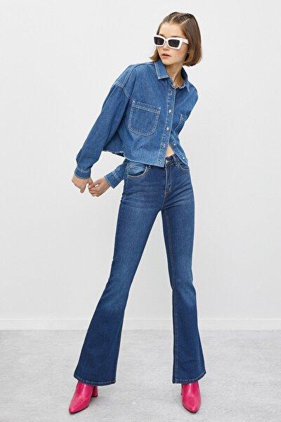 Kadın Mavi Ispanyol Paça Pantolon