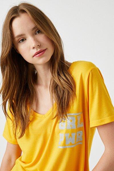 Kadın / Kız Yetişkin Sarı T-Shirt