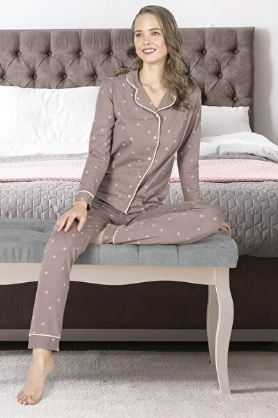 Özkan 25200 Kadın Pamuklu Uzun Kollu Düğmeli Manşetli Pijama Takımı