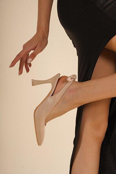 Nude Arkası Fiyonk Detaylı Şık Stiletto
