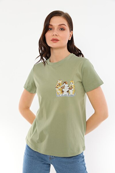 Haki %100 Pamuk Bisiklet Yaka Basic Baskılı Pizza Partisi T-shirt