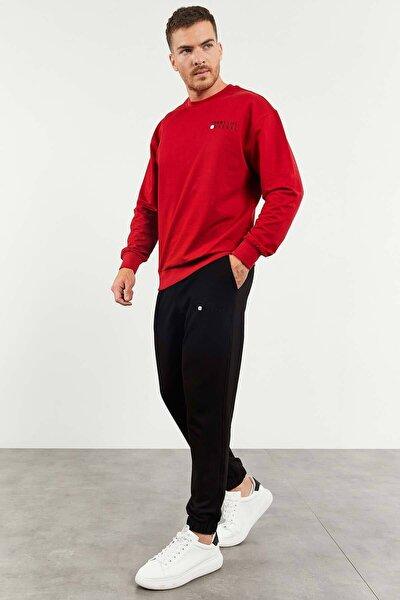 Kırmızı-Siyah Erkek Casual O Yaka Oversize Lastik Paça Eşofman Takımı - 85120