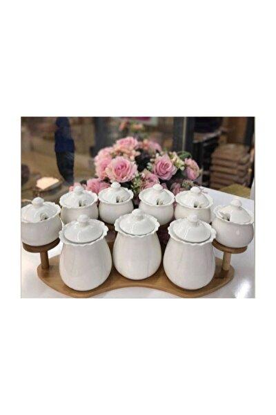 Beyaz Bambu Standlı Porselen Baharatlık